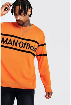 Mens Orange MAN Oversized Official Knitted Jumper