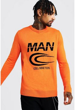 Mens Orange MAN Branded Graphic Knitted Crew Neck Jumper