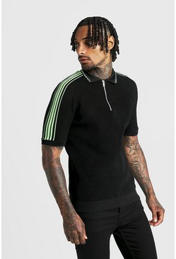 Neon-green MAN Regular Fit Knitted Half Zip Polo