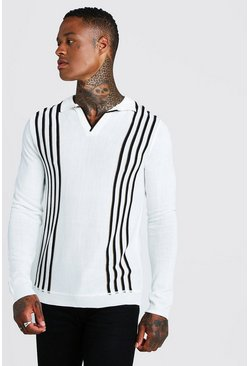 Mens Cream Regular Fit Long Sleeve Knitted Polo With Stripe