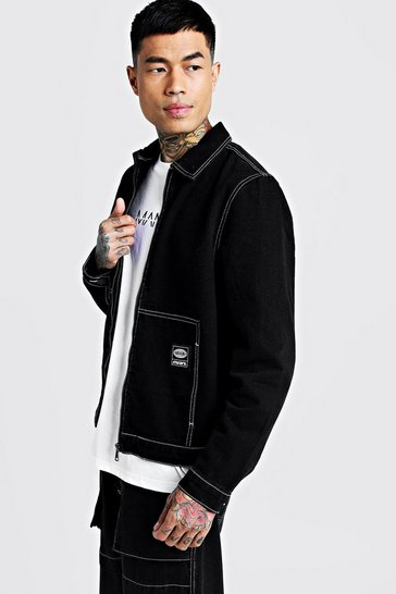 Mens Washed black Denim Jacket With Contrast Stitch