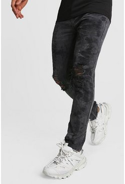 Mens Washed black Distressed Washed Ankle Zip Skinny Jeans