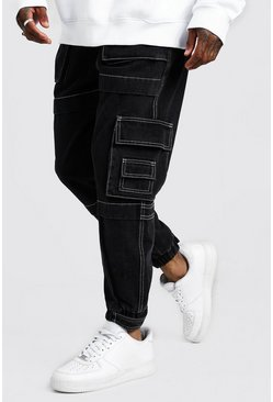 Herr Washed black Denim Cargo Joggers With Utility Pockets