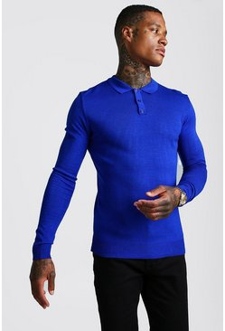 Mens Cobalt Muscle Fit long Sleeve Knitted Polo