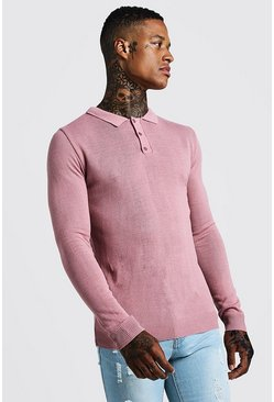 Mens Rose Regular Fit Long Sleeve Knitted Polo