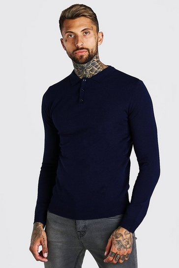 Mens Navy Regular Fit Long Sleeve Knitted Polo