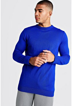 Mens Cobalt Regular Fit long Sleeve Crew Neck Knitted Jumper