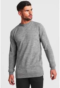 Mens Grey Regular Fit Long Sleeve Crew Neck Knitted Jumper