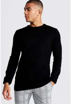 Mens Black Regular Fit Long Sleeve Crew Neck Knitted Jumper