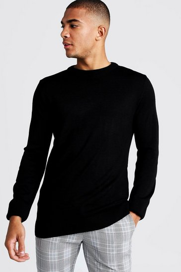 Black Regular Fit Long Sleeve Crew Neck Knitted Jumper
