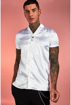 Mens White Satin Short Sleeve Revere Collar Shirt