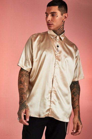 Mens Ecru Super Oversized Longline Short Sleeve Satin Shirt