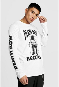 "White ""Death row records"" långärmad t-shirt"