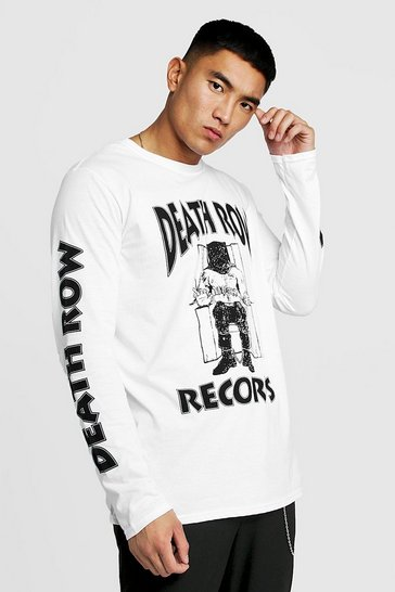 Mens White Death Row Records Long Sleeve T-Shirt