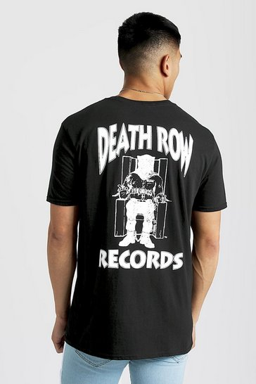 Mens Black Death Row Records Oversized T-Shirt