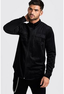 Herr Black Zip Through Cord Shirt