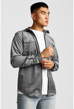 Mens Grey Zip Through Cord Shirt