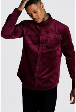 Herr Burgundy Long Sleeve Cord Shirt