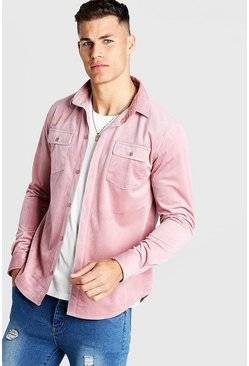 Herr Pink Long Sleeve Cord Shirt