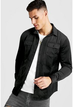 Herr Black Long Sleeve Cord Shirt