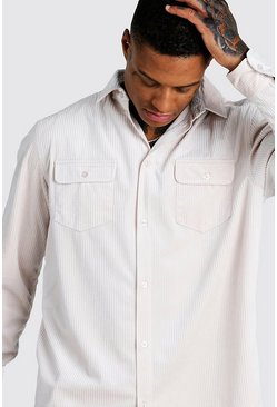 Mens Ecru Oversized Long Sleeve Cord Shirt
