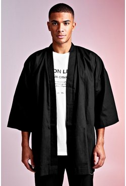Mens Black MAN Design 3/4 Sleeve Kimono With Belt Detail