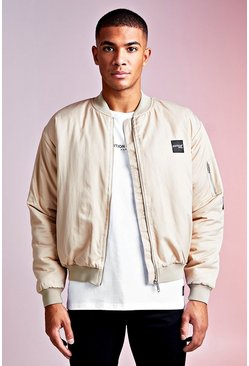 Mens Sand MAN Design Bomber With PU Branded Tab