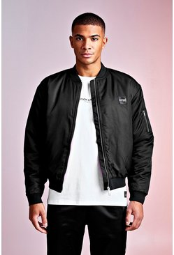 Mens Black MAN Design Bomber With PU Branded Tab