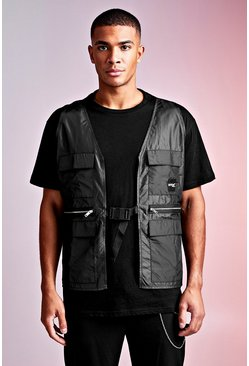 Black MAN Design Loose Fit Tee With Utility Vest