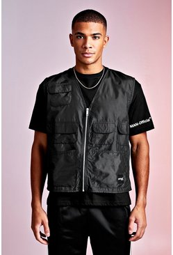 Herr Black MAN Design Loose Fit Tee With Utility Vest
