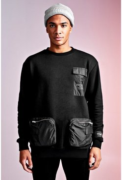 Black MAN Design Loose Fit Sweat With Front Pockets