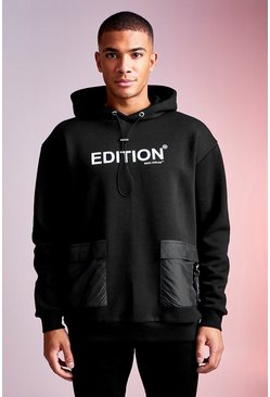 Black MAN Design Hoodie With Nylon Pockets