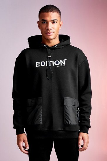 Mens Black MAN Design Hoodie With Nylon Pockets
