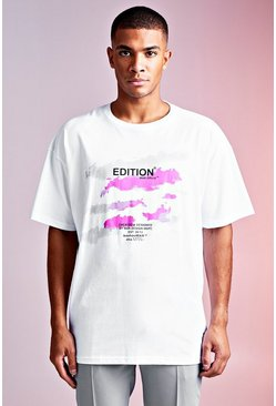 Mens White MAN Design Graphic Tee With Detail
