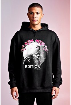 Herr Black MAN Design Hoodie With Blossom Print Detail