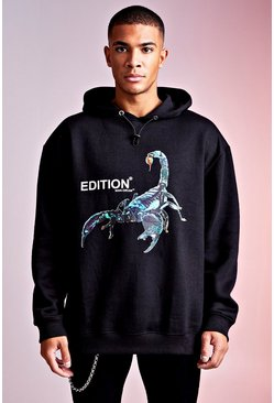 Herr Black MAN Design Hoodie With Front & Back Print Detail