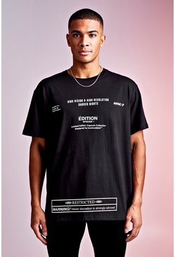 Black MAN Design Loose Fit Tee With Multi Text Print