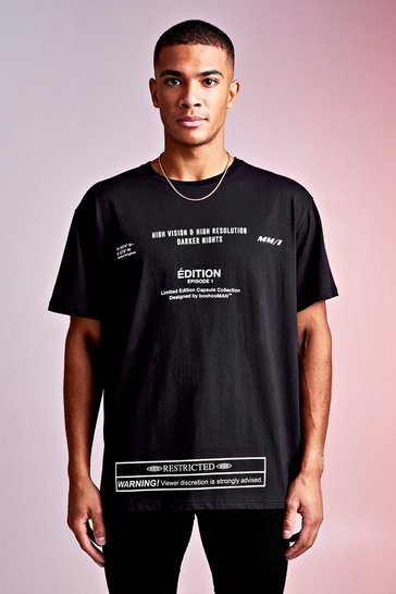 Mens Black MAN Design Loose Fit Tee With Multi Text Print