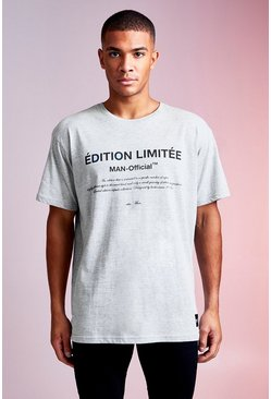 Grey MAN Design Loose Fit Tee With Edition Limited Print