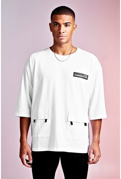 Mens White MAN Design Oversized 3/4 Sleeve Utility Tee
