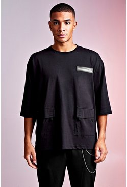 Black MAN Design Oversized 3/4 Sleeve Utility Tee