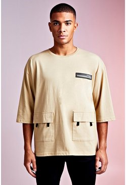 MAN Design - T-shirt fonctionnel oversize à manches 3/4, Sable, Homme
