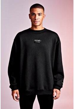 Mens Black MAN Design Oversized Sweat With Woven Tab