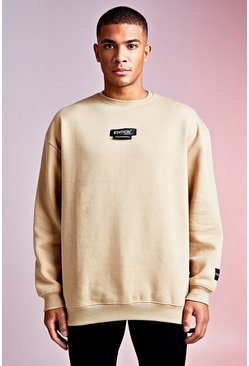 Herr Sand MAN Design Oversized Sweat With Woven Tab