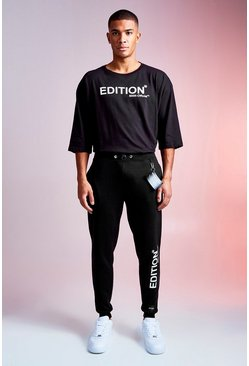 Mens Black MAN Design Tee And Jogger Set