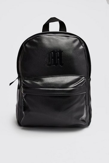 Black MAN Emboss PU Backpack