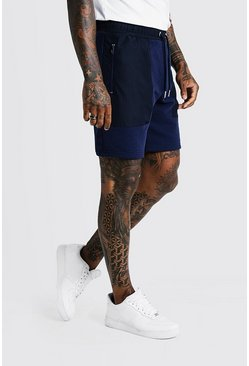 Mens Navy MAN Signature Mid Length Short With Nylon Pockets