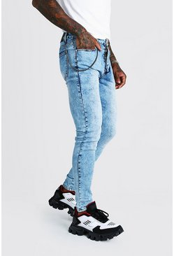 Herr Washed blue Super Skinny Fit Jeans With Chain