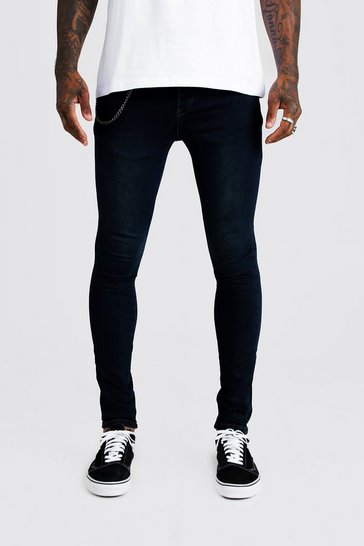 Mens Washed indigo Super Skinny Fit Jeans With Chain