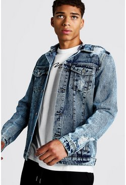 Mens Blue Distressed Denim Jacket With Removable Hood